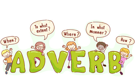 grammar: Stickman and Typography Illustration of Kids with Speech Bubbles Around Their Heads Asking Adverbial Questions Stock Photo