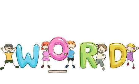 orthography: Stickman and Typography Illustration of Kids Trying to Spell a Word That Has a Missing Letter Stock Photo