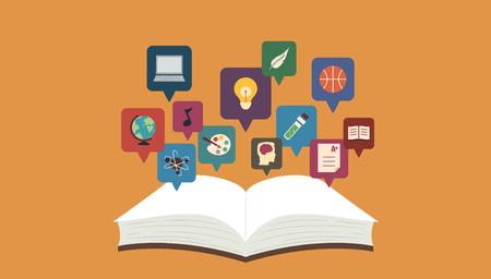 category: Illustration Featuring an Open Book with Icons Representing Various Topics Hovering Over It Stock Photo