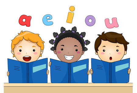 Typography Illustration of Kids with Matching Books Reading Vowels Out Loud Stock Photo