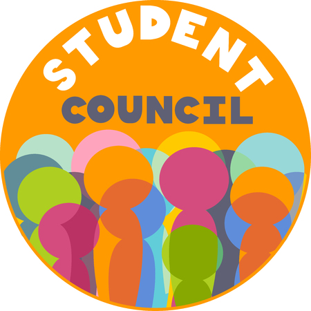 council: Printable Illustration Featuring a Colorful Badge for Student Council Elections