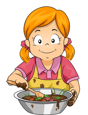 Illustration of a Little Girl Baking a Mud Pie Mixed with Flowers and Grasses Imagens