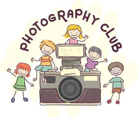 niño preescolar: Ilustración con stickman niños pie alrededor de una cámara de la vendimia gigante