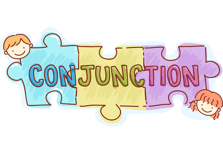 grammar: Stickman and Typography Illustration of Kids Playing with Pieces of Jigsaw Puzzle with the Word Conjunction Written on Them Stock Photo