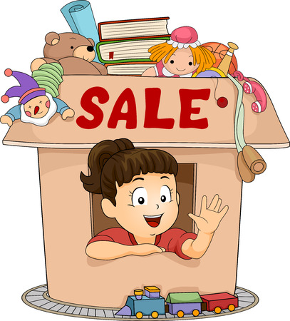 small girl: Illustration of a Cute Little Girl Peeking Out from a Small Box with the Word Sale Written on It