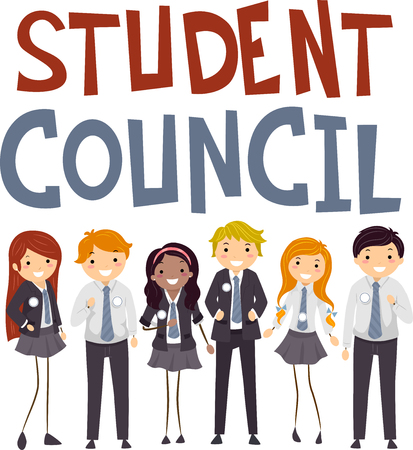 campaigning: Stickman Illustration of Teenagers in Preppy Uniforms Campaigning to Become Members of the Student Council