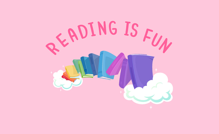 phrase novel: Whimsical Illustration Featuring a Line of Colorful Books with the Phrase Reading is Fun Written Above It Stock Photo