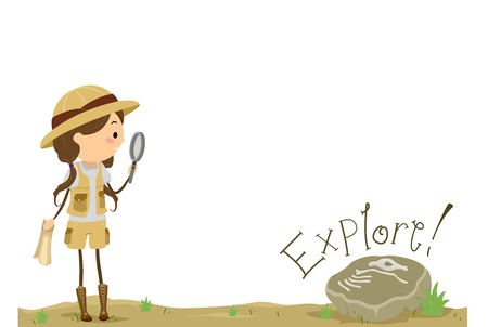 specimen: Stickman Illustration of a Little Girl Holding a Magnifying Glass Approaching a Fossilized Specimen