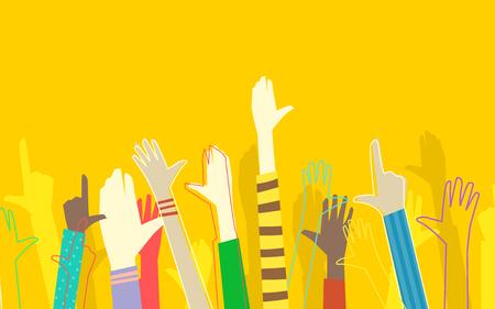 niños diferentes razas: Ilustración colorido que ofrece un grupo racialmente diverso de niños con sus manos levantadas Foto de archivo