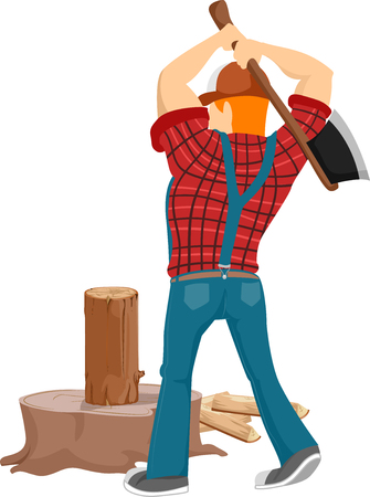 Back View Illustration of a Bearded Caucasian Lumberjack in a Cap and Plaid Shirt Chopping a Piece of Log Illustration