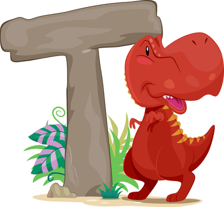 beside: Typography Illustration Featuring a Red Tyrannosaurus Rex Standing Beside a Giant Letter T
