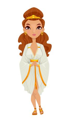 Illustration d'une femme portant un costume impératrice romaine Composé d'une tunique blanche, une paire de sandales et bijoux assortis Banque d'images
