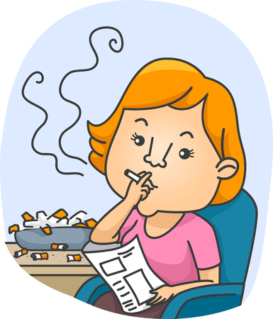 puffing: Illustration of a Female Chain Smoker Puffing a Cigarette Next to an Ashtray Overflowing with Cigarette Butts