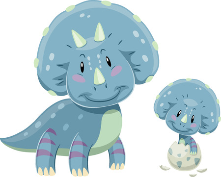 Adorable Illustration Featuring a Triceratops Mom Looking Fondly at a Baby Triceratops Hatching from an Egg Stock Photo