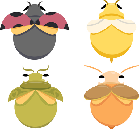 Top View Illustration of a Group of Colorful Bugs of Different Species