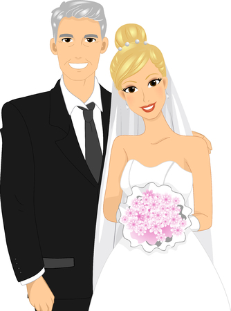 Illustration of a Lovely Bride Posing for a Photo with Her Gray Haired Father Stock Photo