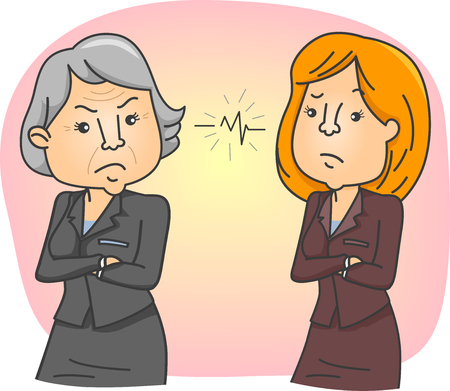 misunderstanding: Conceptual Illustration on Generation Gap Featuring a Tense Situation Between a Younger Woman and an Elderly One Stock Photo