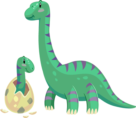 stare: Adorable Animal Illustration Featuring a Brontosaurus Mom Looking Affectionately at its Hatching Baby
