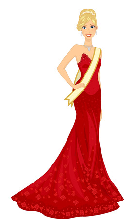pageant: Illustration of a Blonde Woman in a Red Gown Competing in a Beauty Pageant