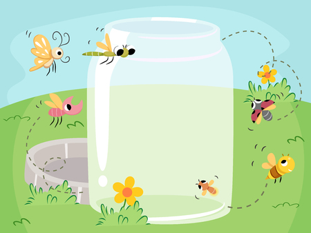 Colorful Illustration Featuring Different Species of Insects Flocking Towards a Glass Jar