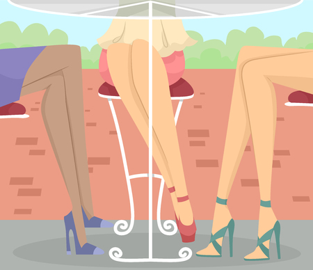 outdoor dining: Cropped Illustration Featuring the Legs of a Group of Women Dining at an Outdoor Cafe