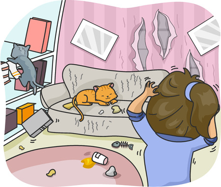 couches: Illustration of a Woman Freaking Out Over the Mess and Damage That Her Pet Cat Caused
