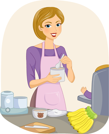nutritious: Illustration of a Young Mother Preparing a Nutritious Meal for Her Baby