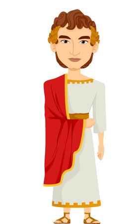 Illustratie van een man verkleed als een Romeinse keizer draagt een witte tuniek gedrapeerd met een rode Kaap