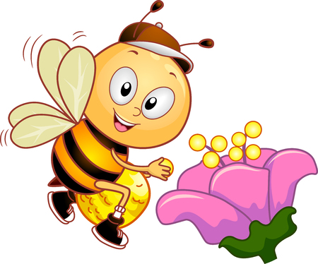 anthropomorphism: Mascot Illustration of a Cute Honeybee Collecting Pollen from a Pink Flower
