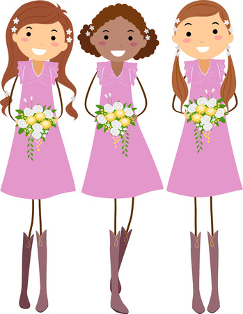 Stickman Illustration Featuring Young Bridesmaids in Pink Dresses Holding Colorful Bouquets