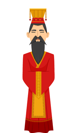 Illustration of a Man Dressed as a Chinese Emperor Wearing a Red Hanfu and a Golden Crown