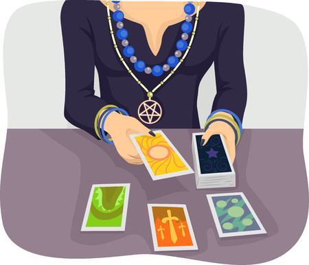 Illustration of a Woman Wearing Special Charms and Amulets Foretelling the Future with the Use of Tarot Cards Фото со стока