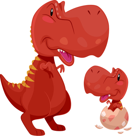 Adorable Illustration Featuring a Tyrannosaurus Rex Mom Looking Fondly at a Baby T Rex Hatching from an Egg