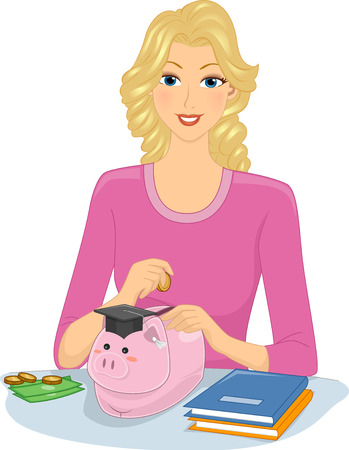thrift: Illustration of a Girl Dropping Coins Into a Piggy Bank for Her College Education Stock Photo