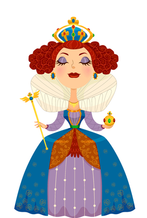 Illustration of a Woman Dressed as a Queen Complete with a Crown and Scepter 写真素材
