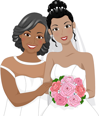 black dress: Illustration of an African American Bride Posing for a Photo with Her Mother Stock Photo