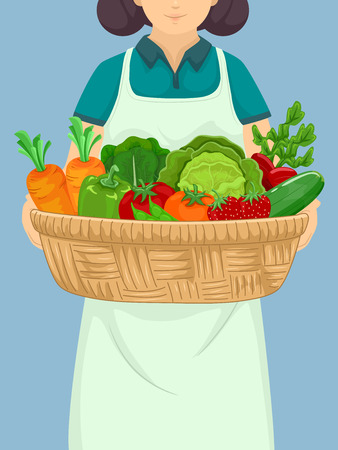 carrying out: Illustration of a Girl Carrying a Large Basket Full of Fruits and Vegetables Stock Photo