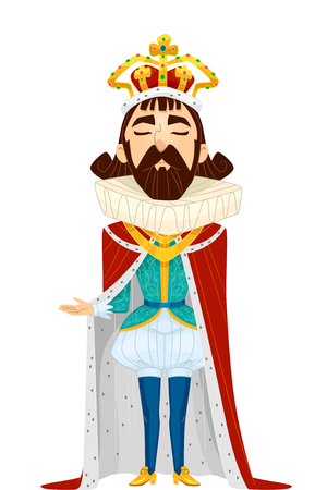 rey caricatura: Caricaturish Illustration of a Man Dressed as a King Complete with a Golden Crown and a Red Cape