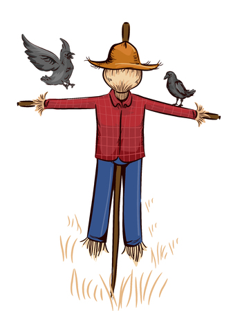 Illustration Featuring a Pair of Crows Inspecting a Scarecrow Made from Hay Stock Photo