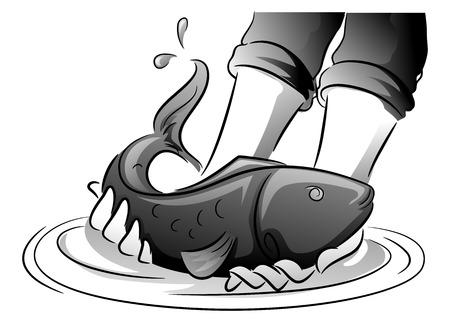 Ilustración en blanco y negro de un hombre sacando un pez de una pluma de pescado Foto de archivo - 73206720