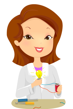 Illustration of a Female Scientist Demonstrating the Concept of Light Energy Stock Photo