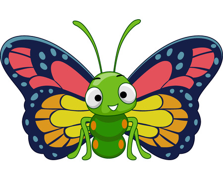 Mascot Illustration Featuring a Cute and Colorful Butterfly with Blue, Red, and Yellow Markings on Its Wings