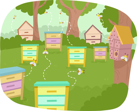 Colorful Illustration of a Bee Garden with Homemade Bug Hotels and Bee Boxes
