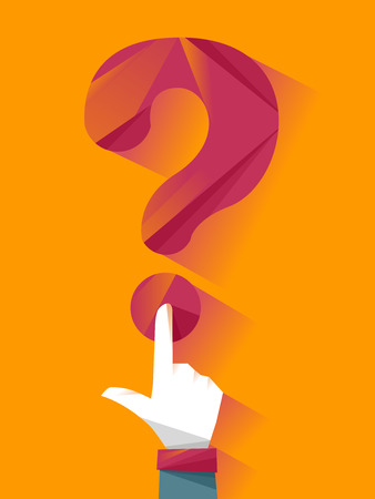 Conceptual Illustration of a Man Pressing the Dot at the Bottom of a Question Mark Stock Photo