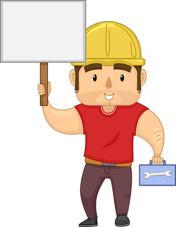 labourer: Illustration of a Muscular Construction Worker Carrying a Box of Tools Holding a Blank Board