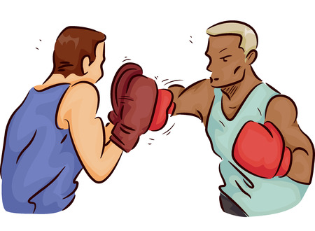 self  defense: Illustration of a Boxer Throwing Punches as His Trainer Blocks Them with a Pair of Mitts
