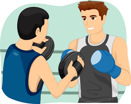 teaches: Illustration of a Boxing Instructor Blocking the Punches of His Trainee as He Teaches Him How to Box