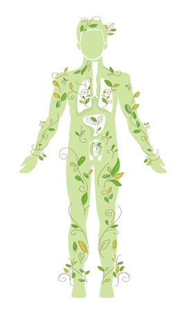 Conceptual Illustration Featuring the Outline of the Body of a Man Covered by Vines Stock Photo