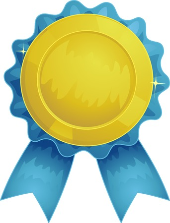 fringes: Illustration Featuring an Award Ribbon made of a Golden Rosette with Blue Fringes and a Matching Tail Stock Photo