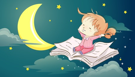 storybook: Whimsical Illustration of  a Cute Little Girl Sitting on a Book Stretching Her Arms in Sleepiness Stock Photo